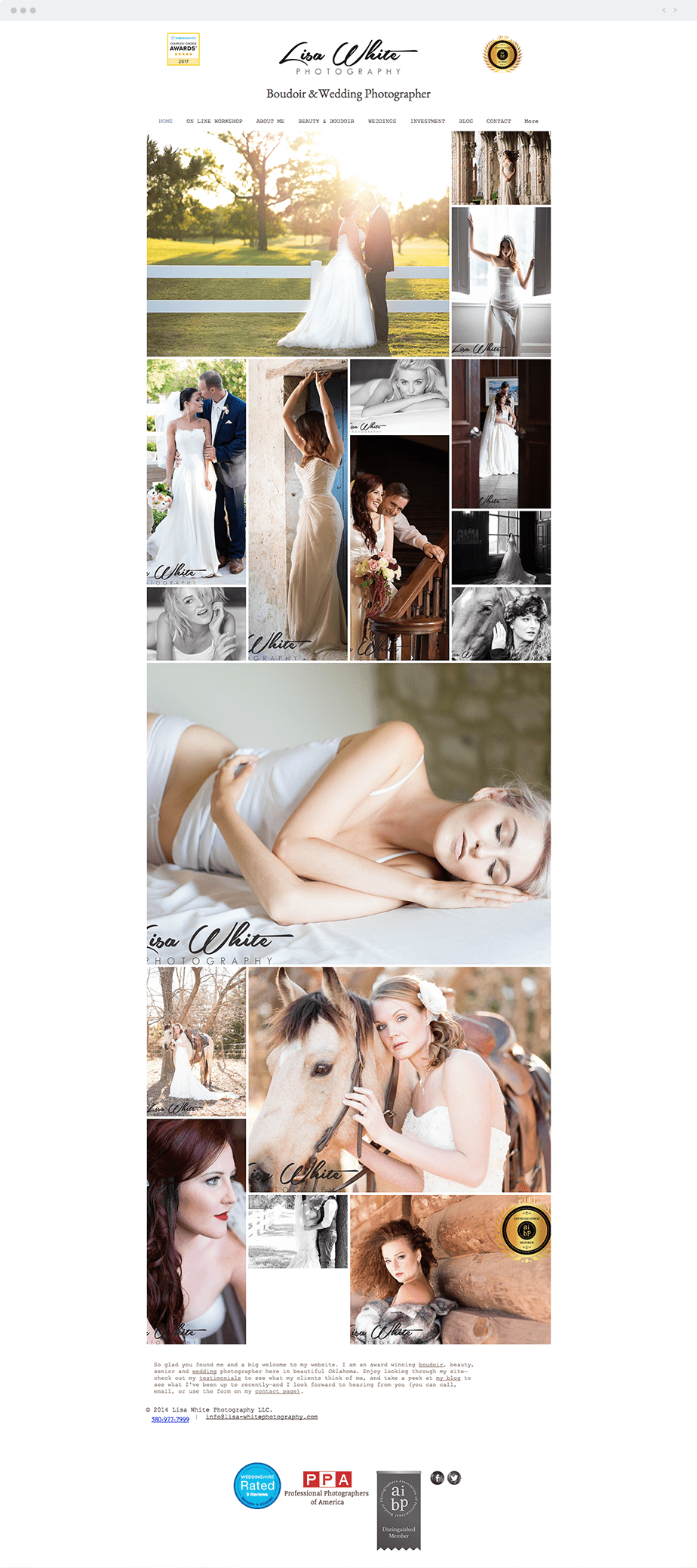 Stunning Wix online portfolio by wedding photographer Lisa White