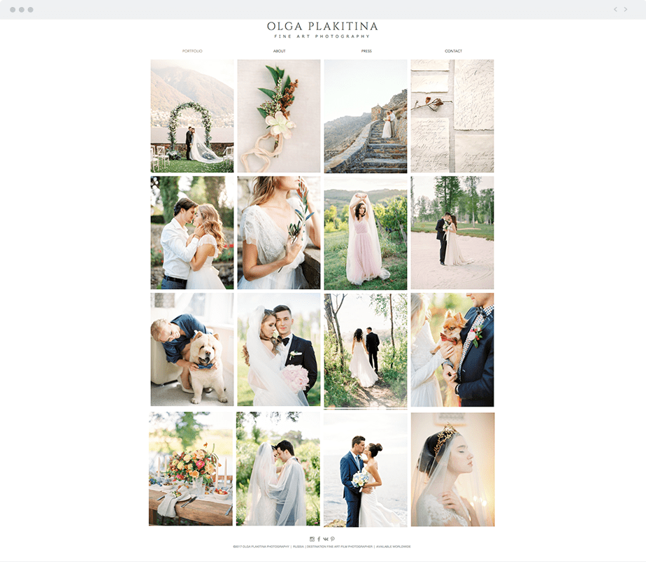 Beautiful Wix photography website by wedding photographer Olga Plakitina