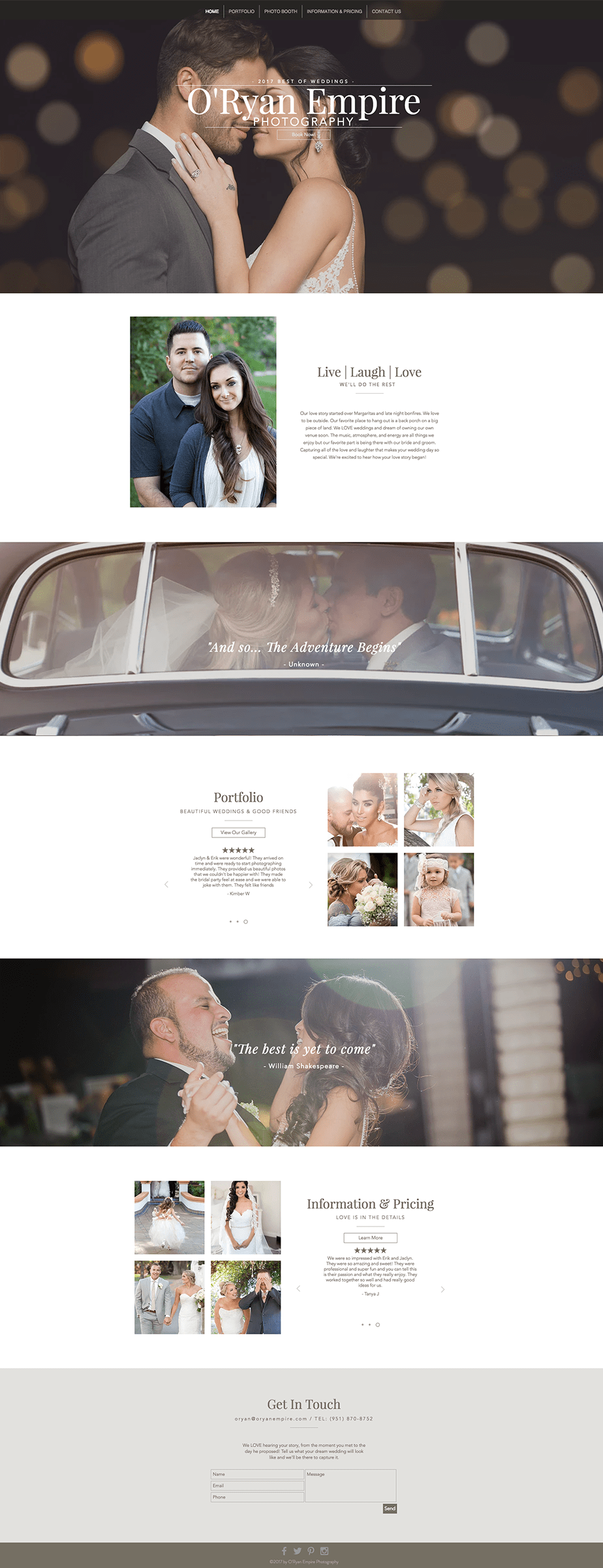 Stunning online portfolio by wedding photographer O'Ryan Empire