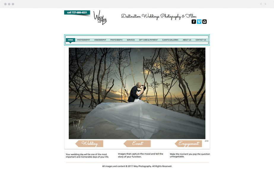 Beautiful Wix photography website by wedding photographer Wey