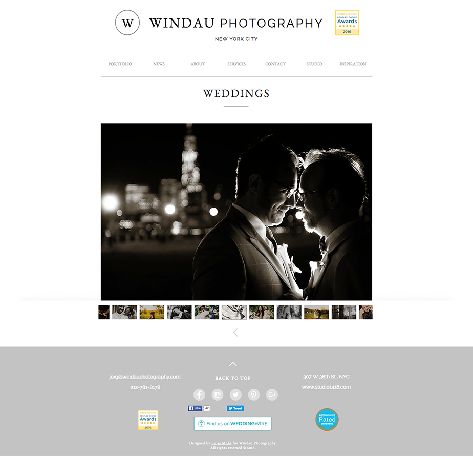 Beautiful Wix photography website by wedding photographer Windau