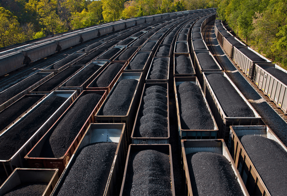 Coal cars from above