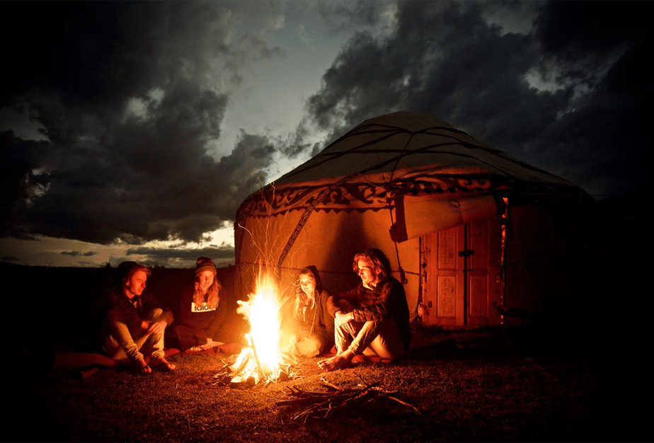 bonfire in front of a Yurt in Mongolia