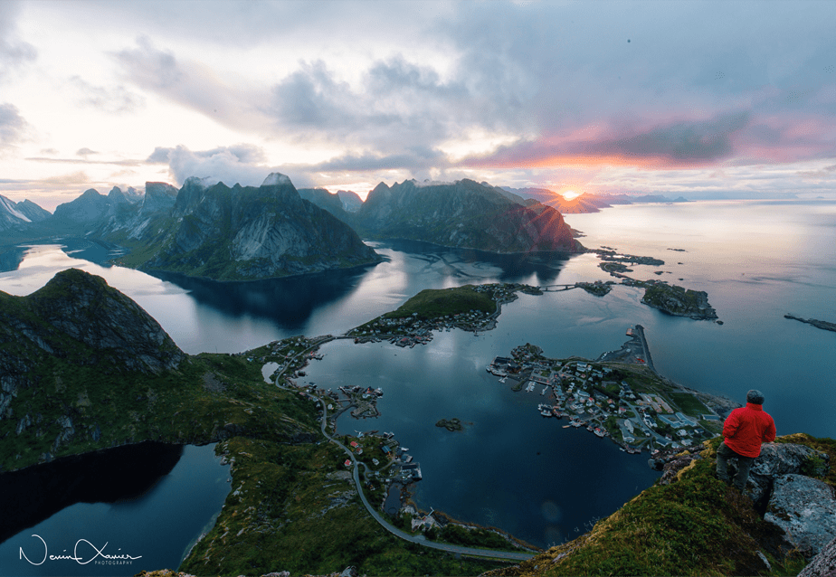 sunrise over fjords in Norway