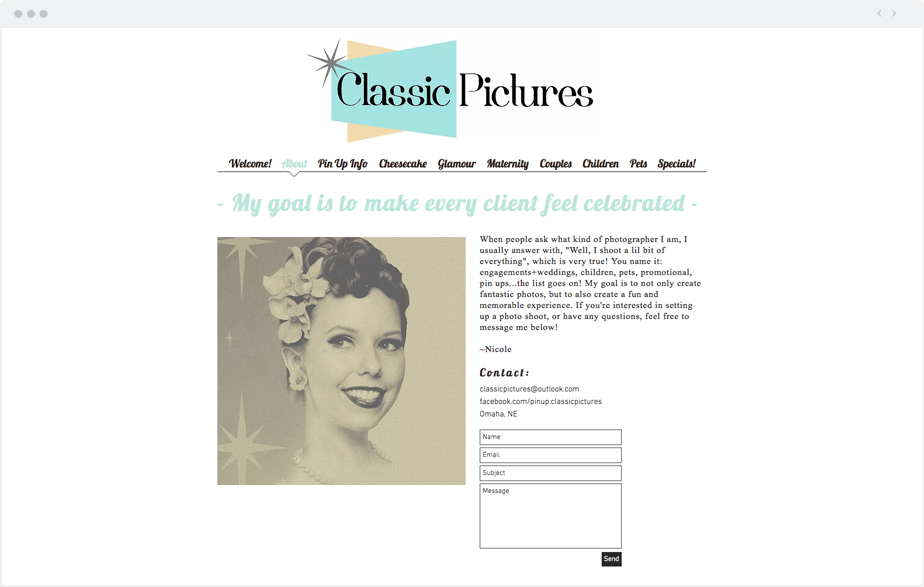Good example of About Me page by Wix photographer Classic Pictures
