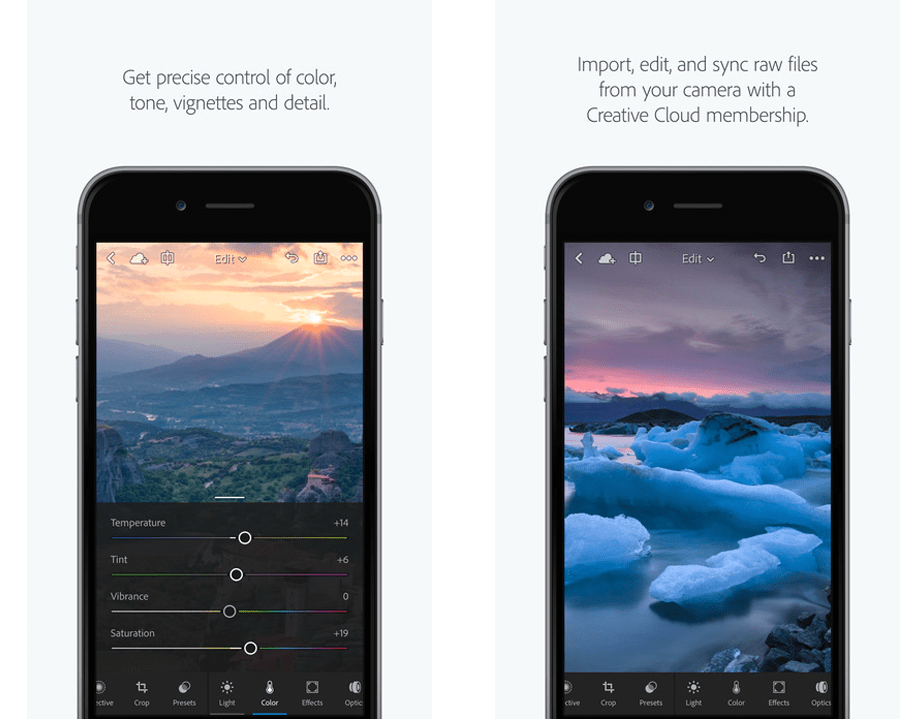screenshot of Lightroom Mobile app