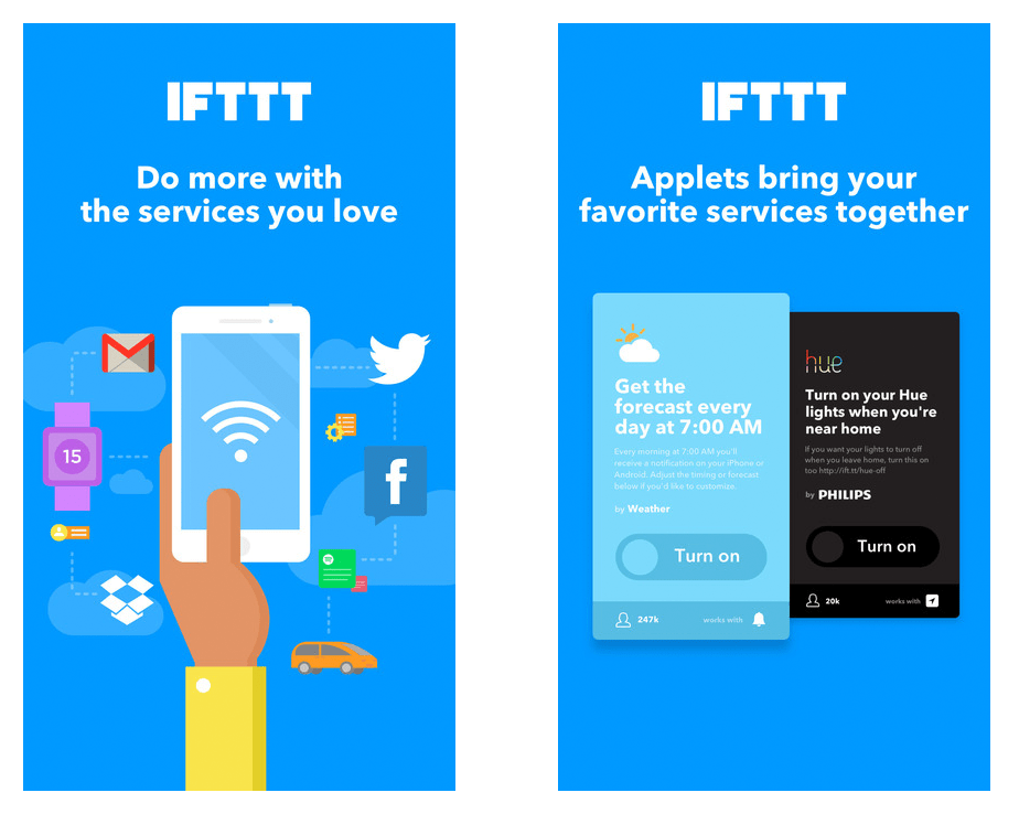 screenshot of IFTTT app