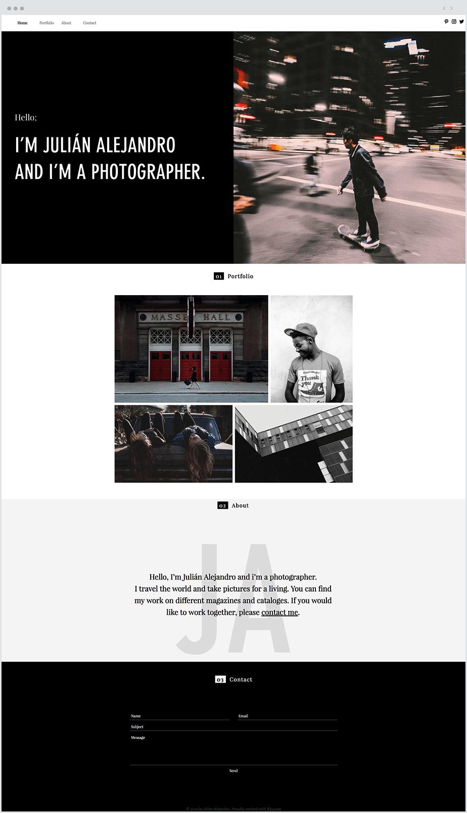 Screenshot of a Wix website template