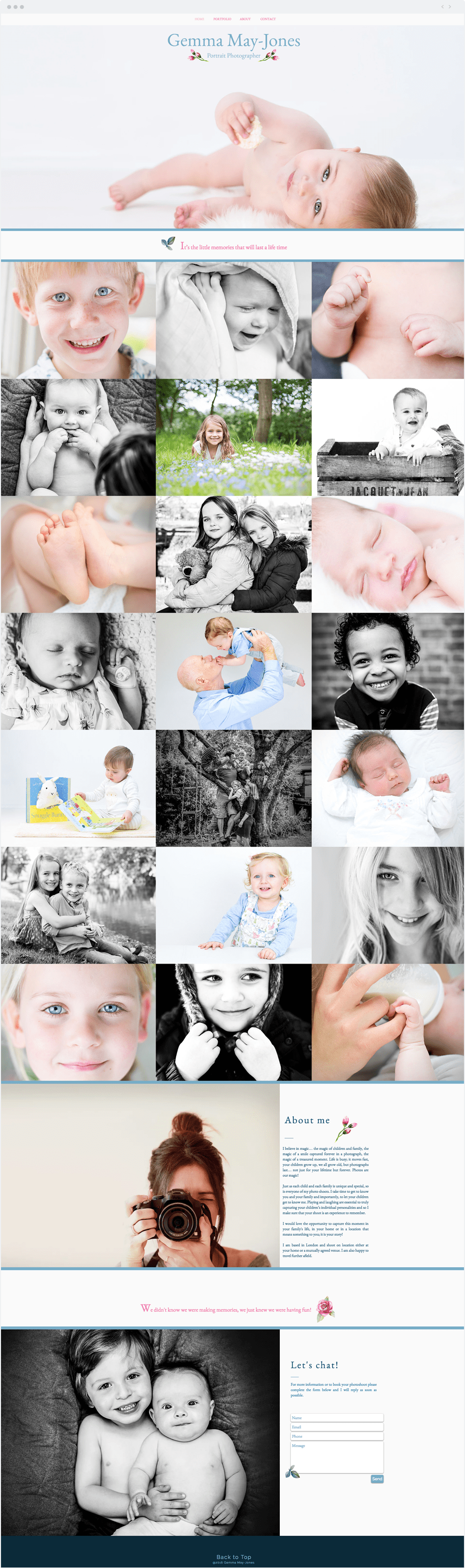Stunning Wix online portfolio by newborn, baby and children photographer Gemma May Jones