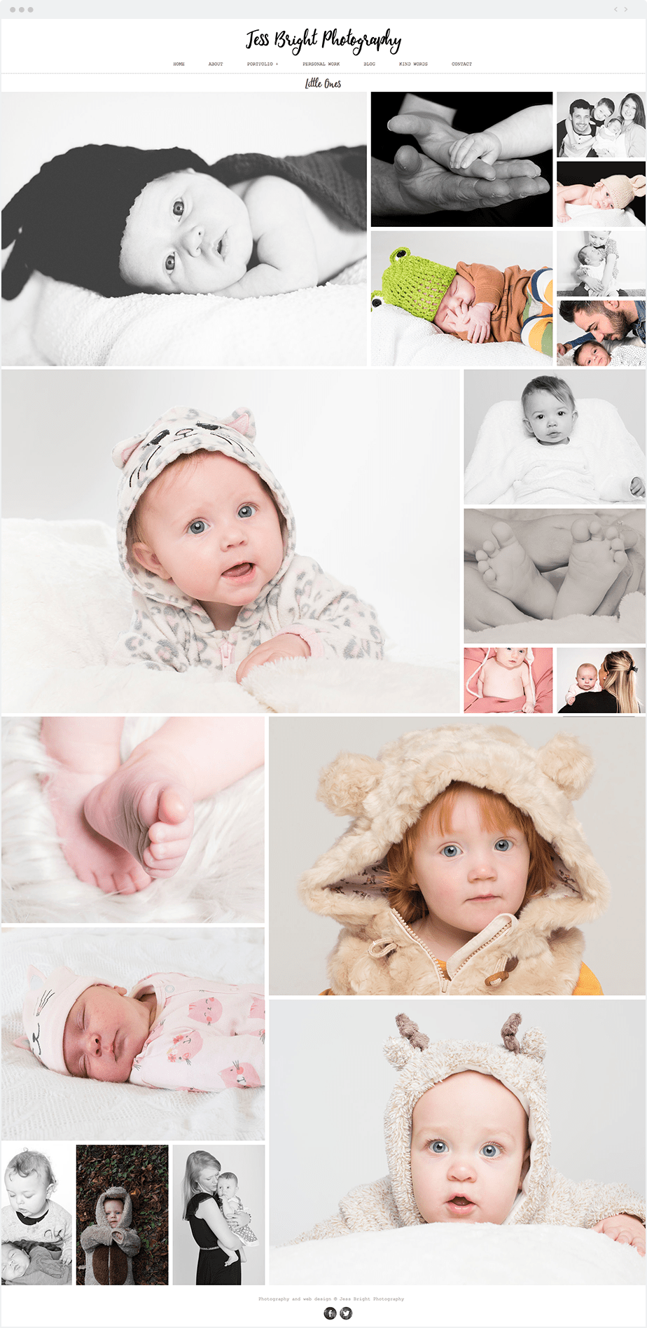 Beautiful Wix photography website by newborn and maternity photographer Jess Bright