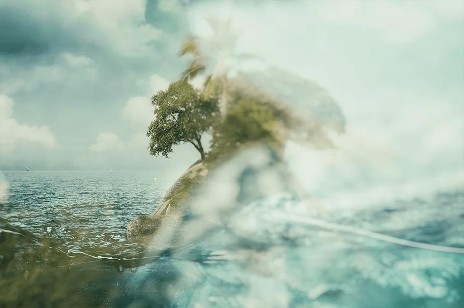 art of turtle island in sea