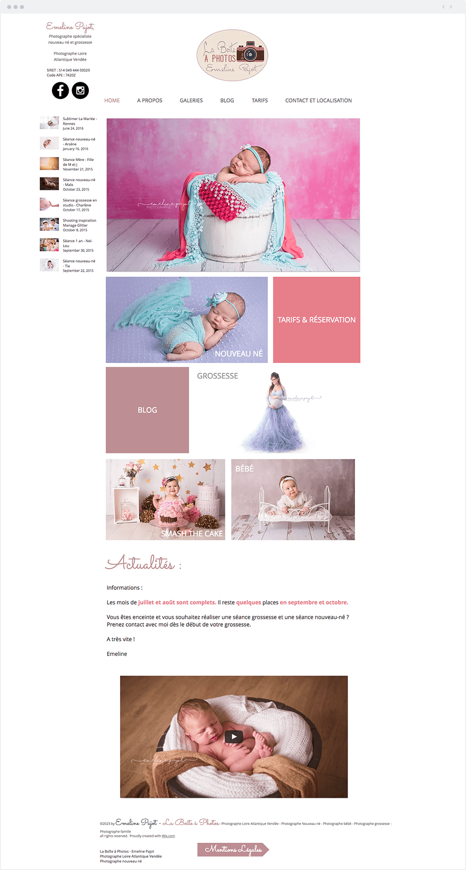 Stunning Wix online portfolio by newborn, baby and children photographer Emeline Pajot