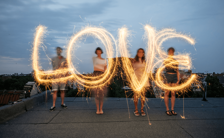 Light painting of the word love.