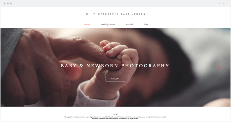 Beautiful Wix photography website by newborn and maternity photographer M' Photography East London