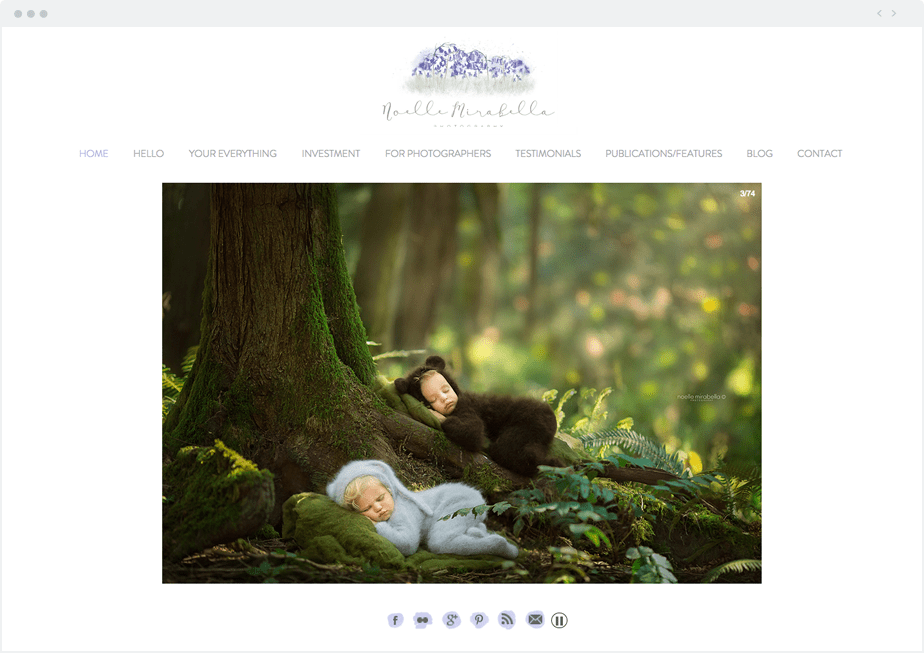 Stunning Wix online portfolio by newborn, baby and children photographer Noelle Mirabella