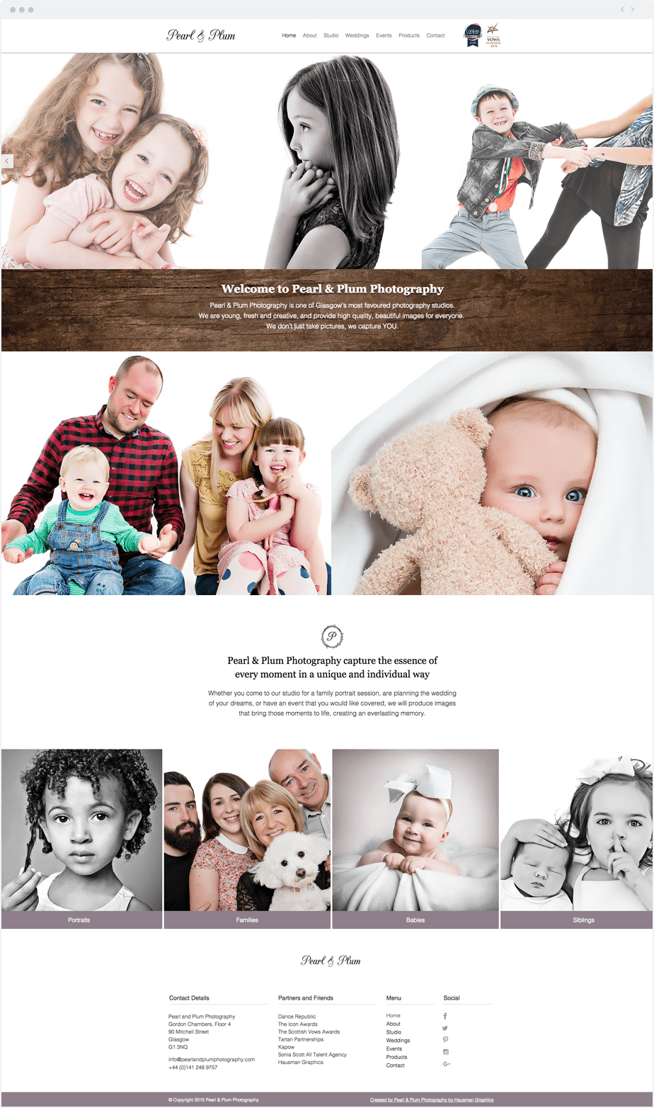 Stunning Wix online portfolio by newborn, baby and children photographer Pearl and Plum