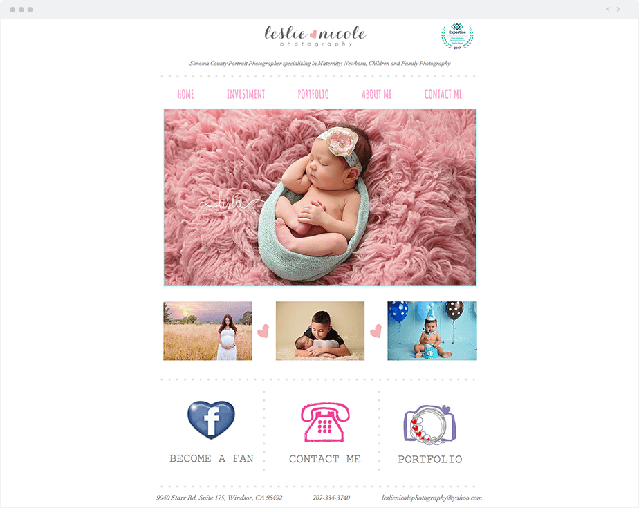 Stunning Wix online portfolio by newborn, baby and children photographer Leslie Nicole