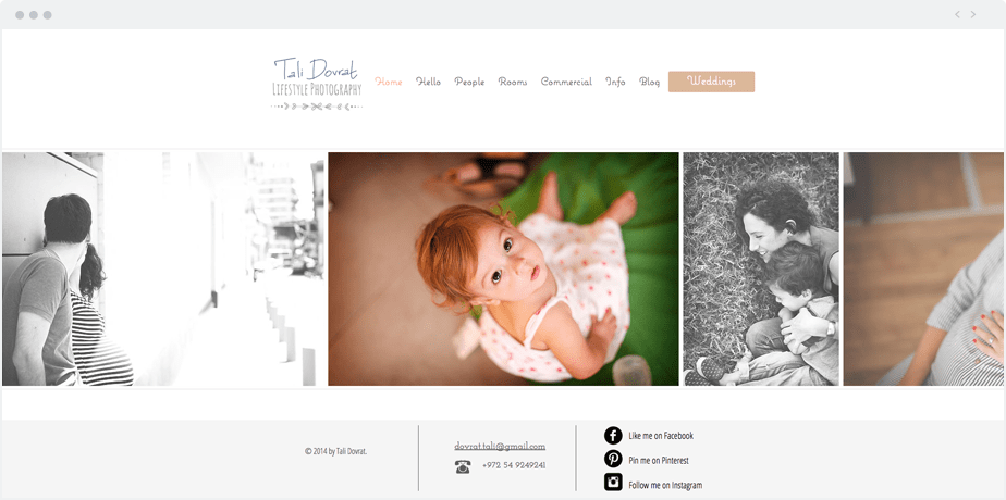 Beautiful Wix photography website by newborn and maternity photographer Tali Dovrat