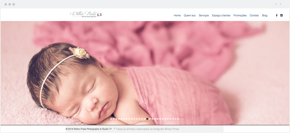 Beautiful Wix photography website by newborn and maternity photographer Wilton Prata