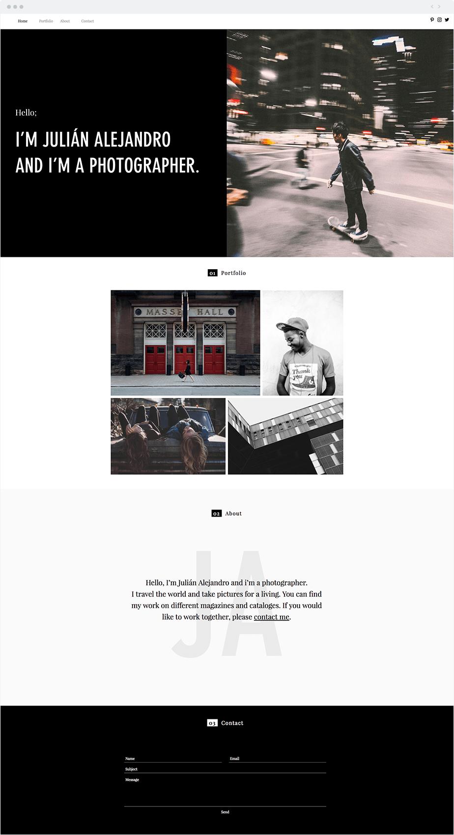 Beautiful template website for fine art photographers
