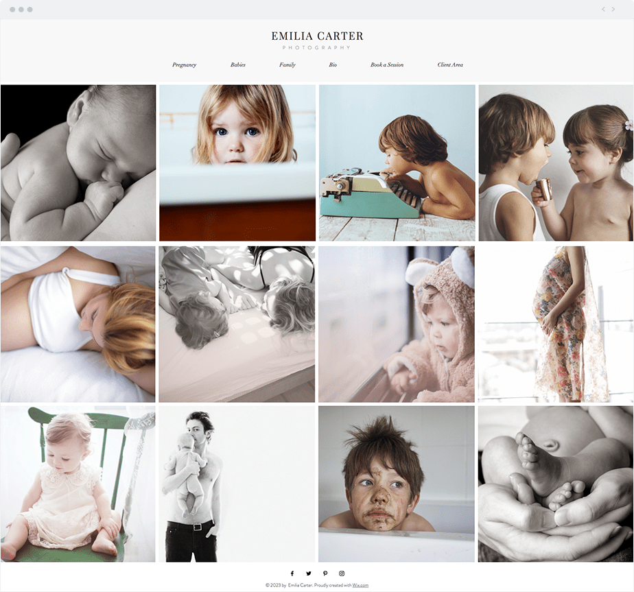 Beautiful free template for family photographer website