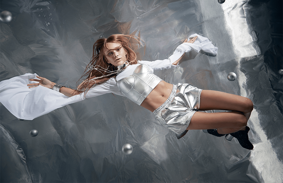 model Stav Strashko floating in zero gravity
