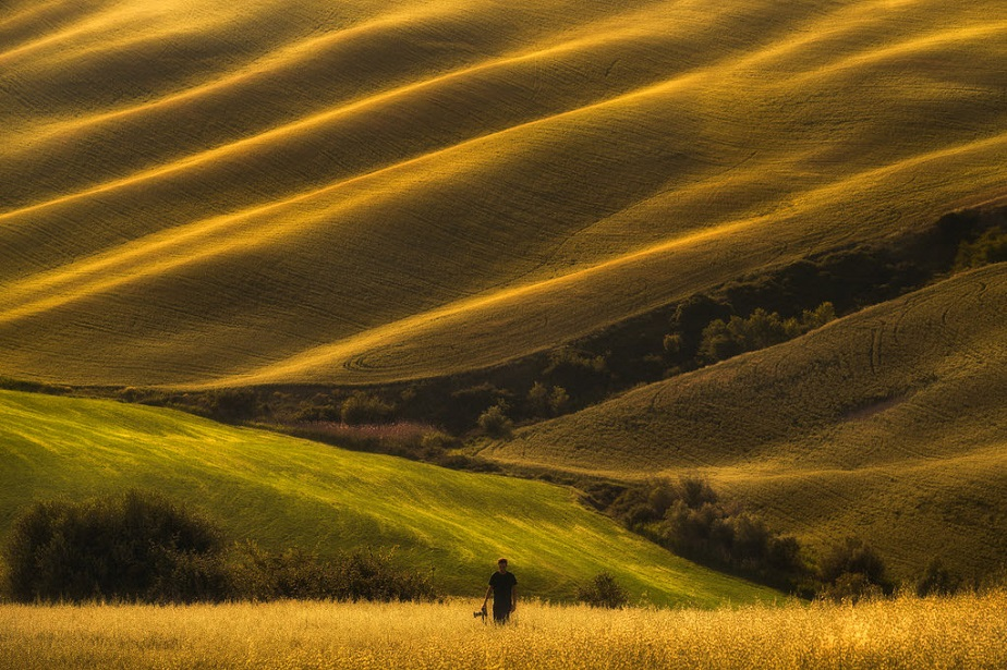 Photographer walking in the fields by Wix landscape photographer Albert Dros