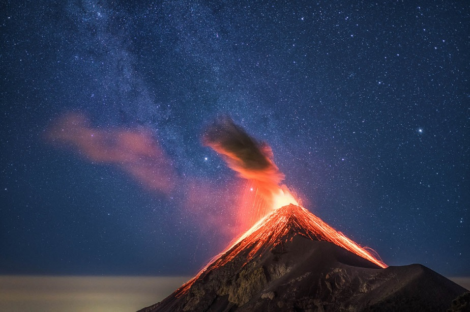 Close-up of an erupting volcano with Milky Way by Wix landscape photographer Albert Dros