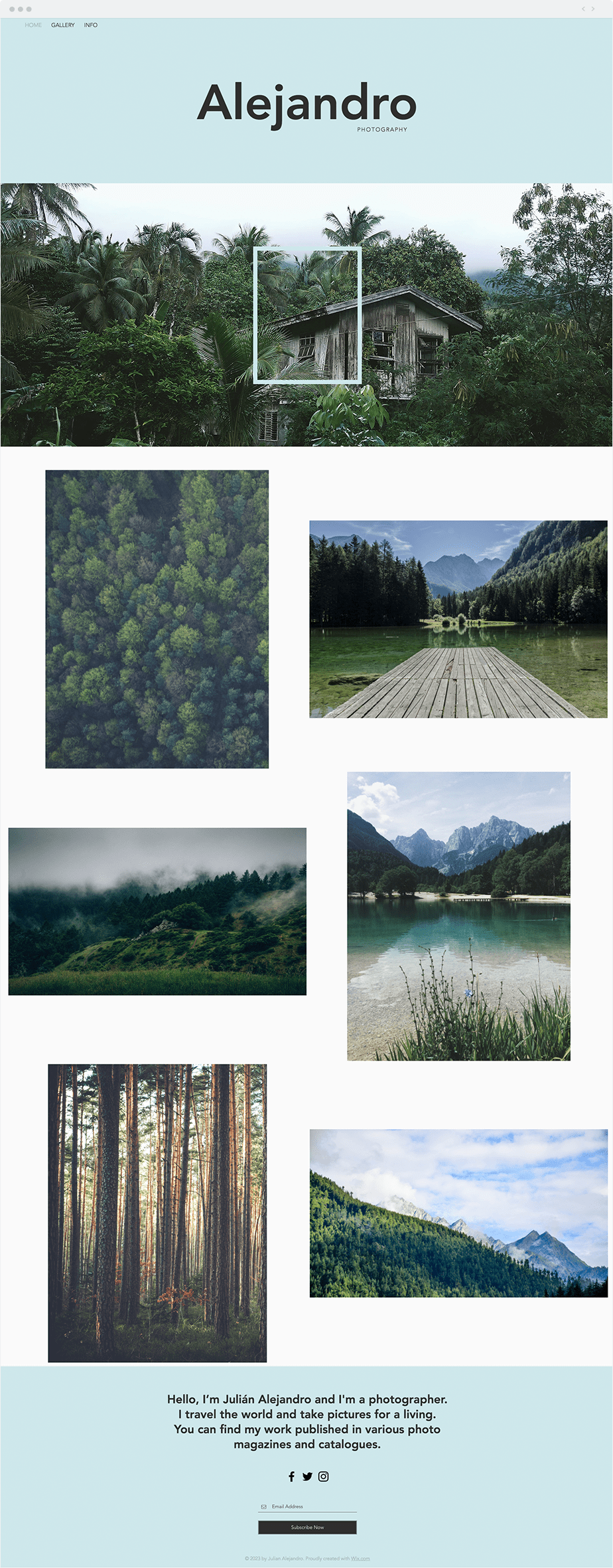 Stunning template for nature photography website