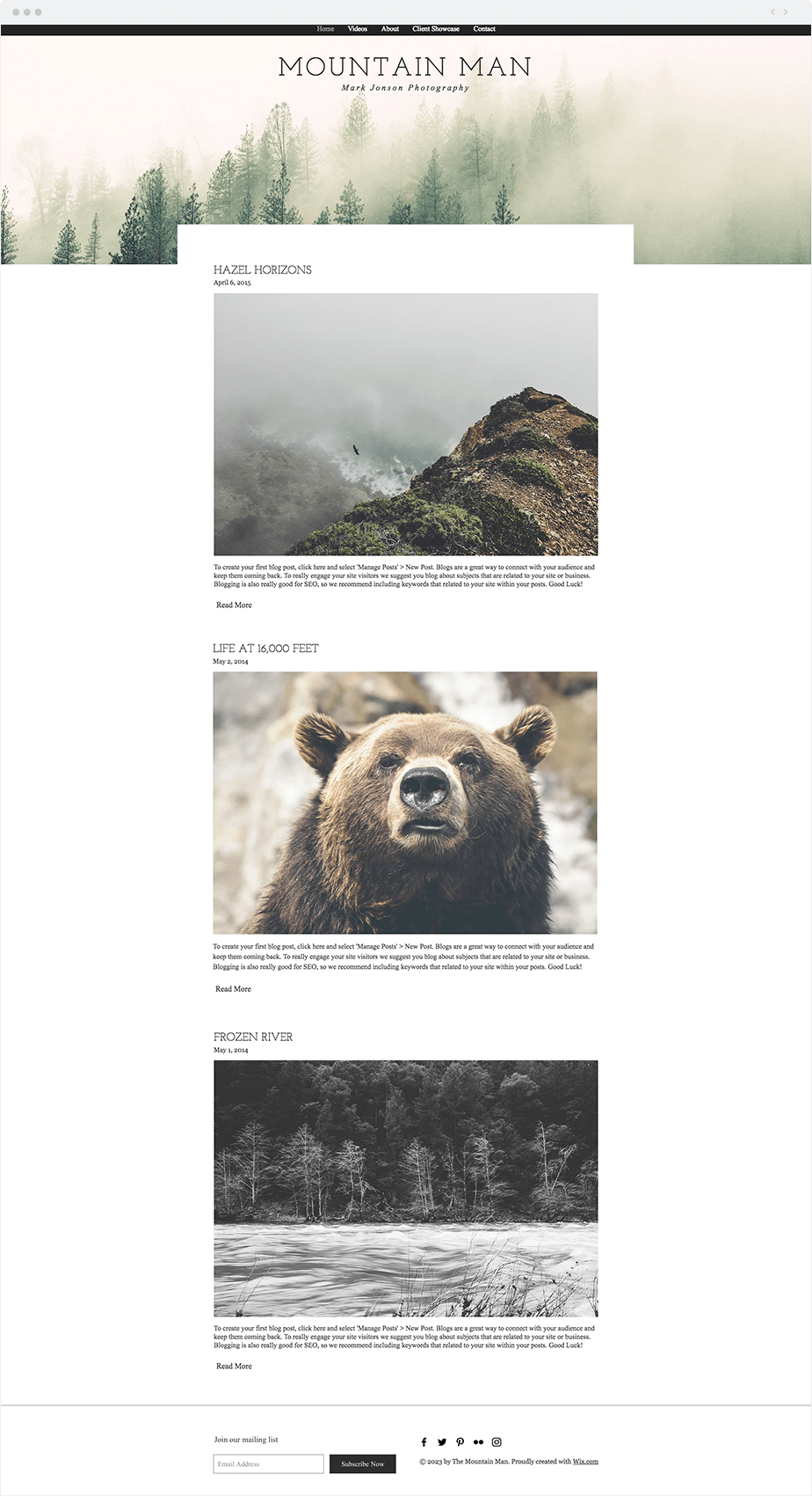 Screenshot of a photography blog