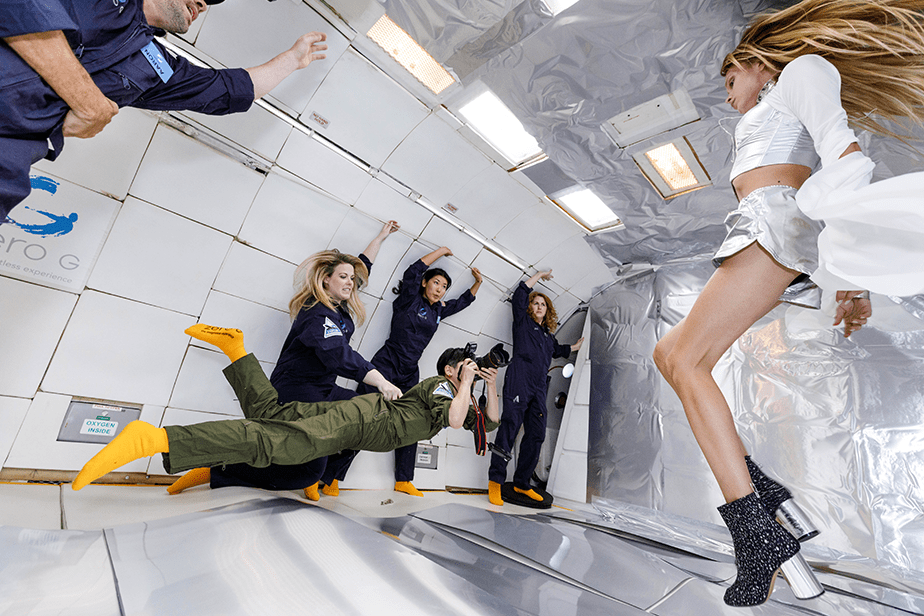 fashion photo shoot in zero gravity