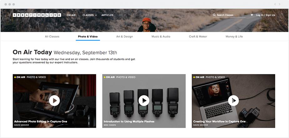screenshot of CreativeLive