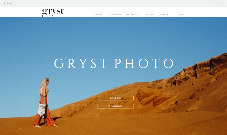 example of beautiful home page, wix photographer website Gryst