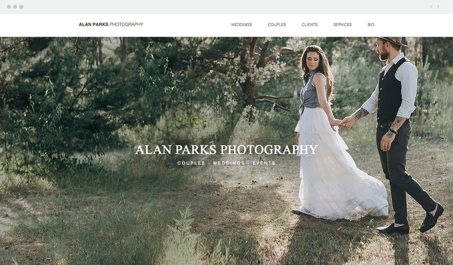 example of perfect home page for photography portfolio