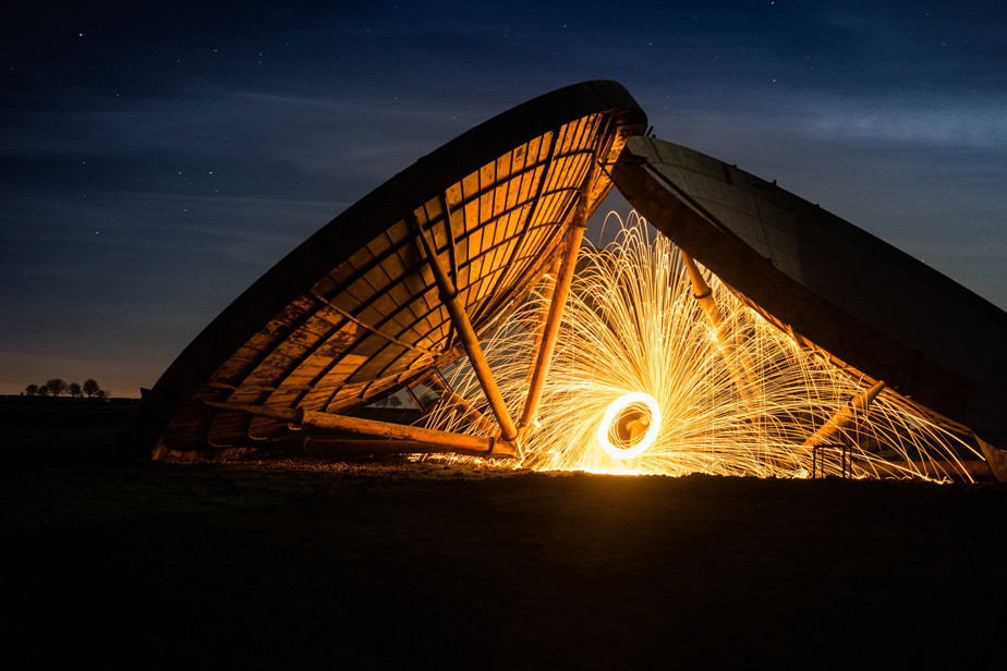Steel wool painting at an old radar station satellite