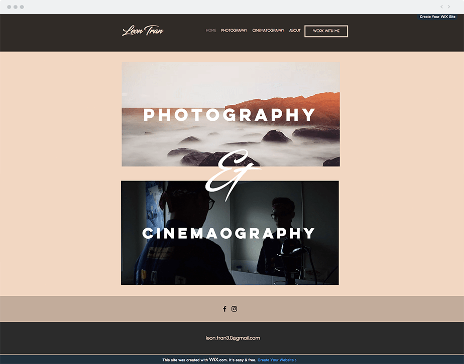 Wix Photography Websites Created for Free: Leon Tran