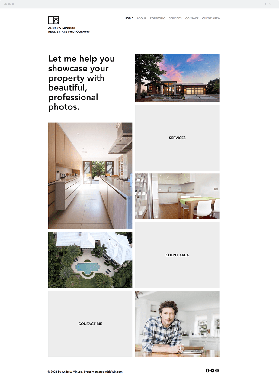 asymmetric grid for photography portfolio website