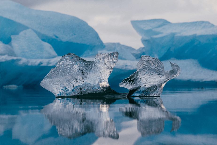Melting ice in the sea