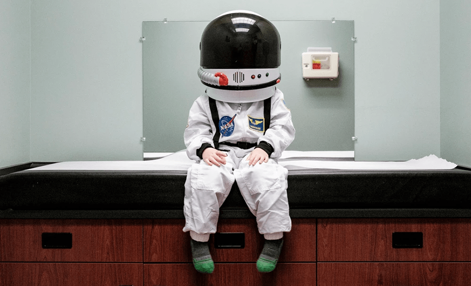 little boy dressed as an astronaut