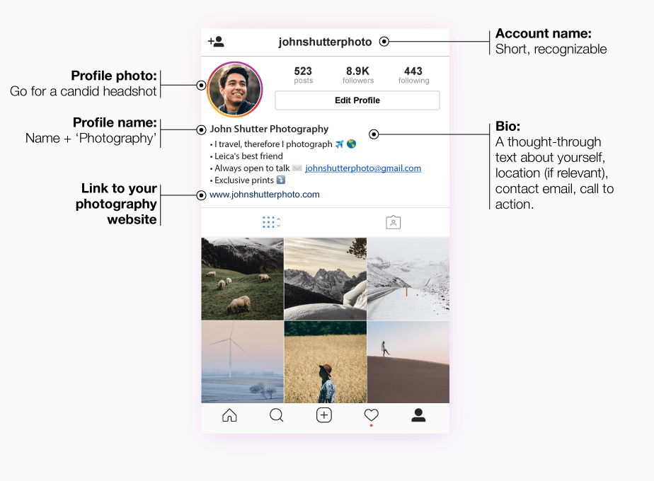 infographic of instagram profile for photographers.