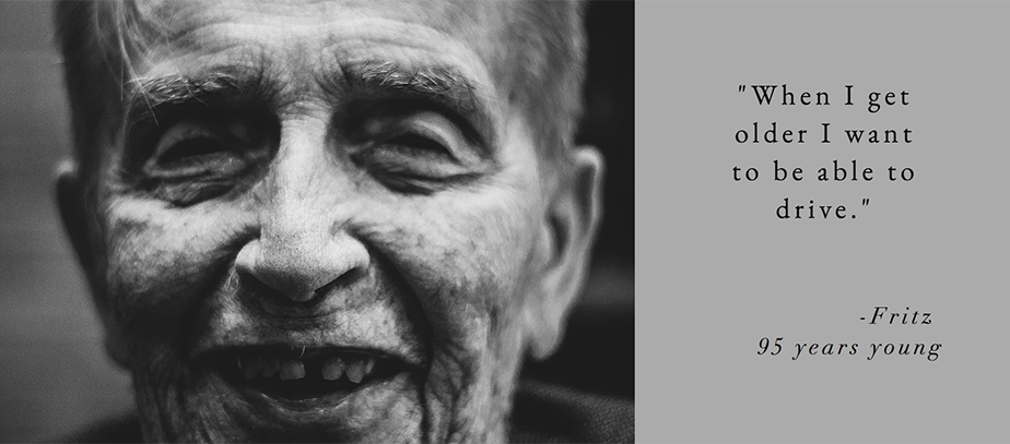 black and white headshot of elderly person
