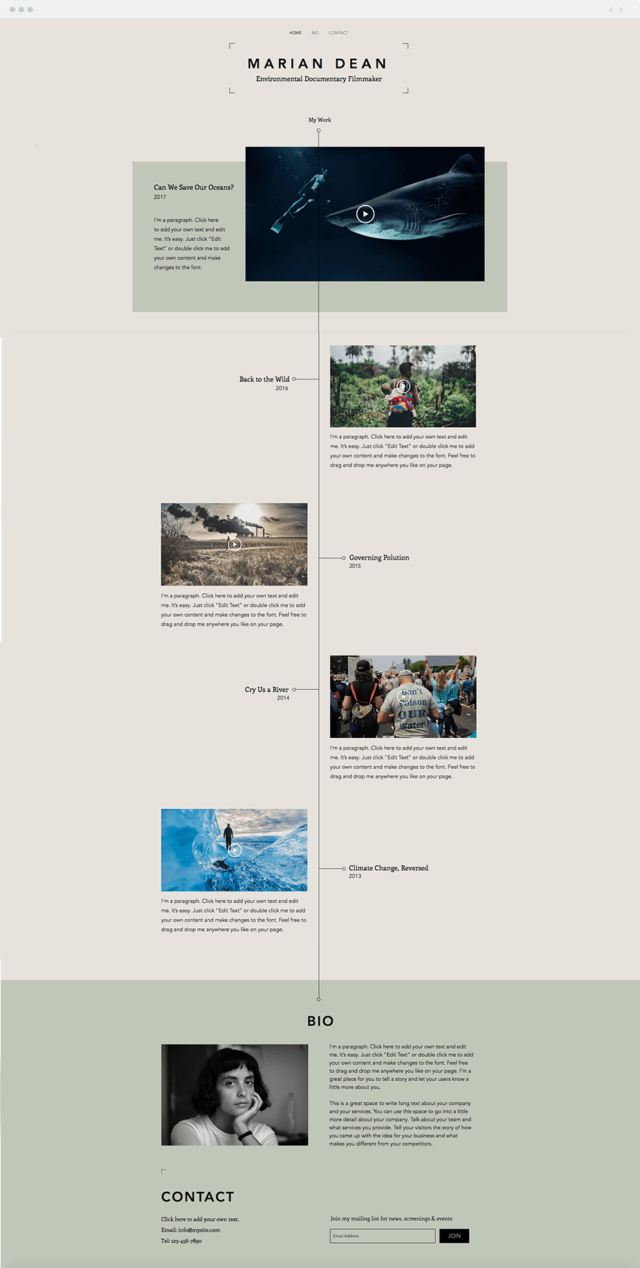 Filmography website template