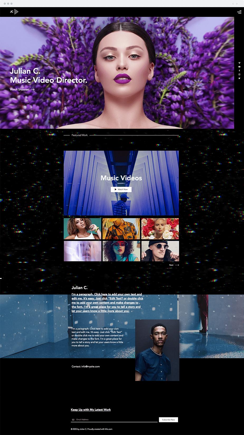 Music Video Director website template
