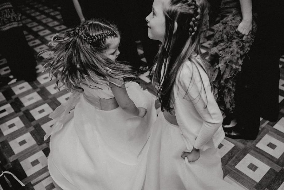 two little girls dancing