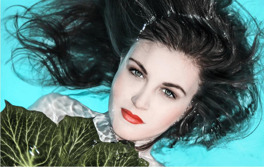 fashion model in a pool