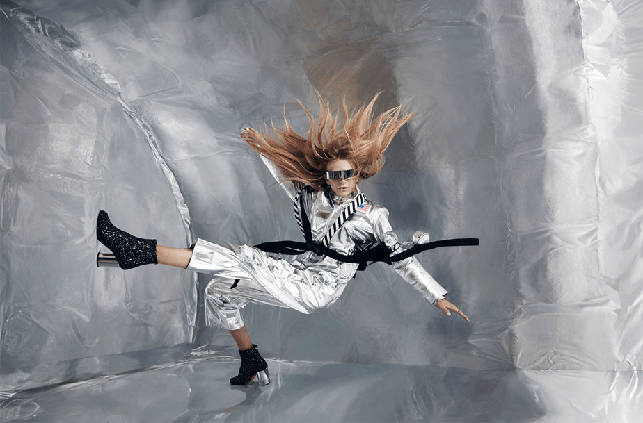 fashion model in zero gravity