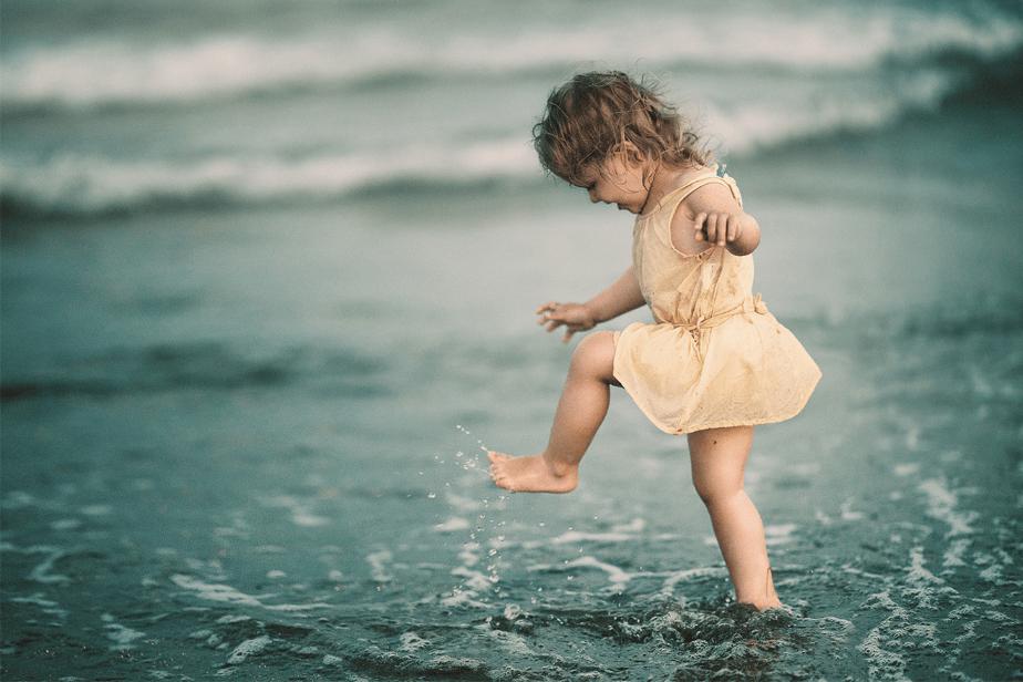 cute little girl at the beach