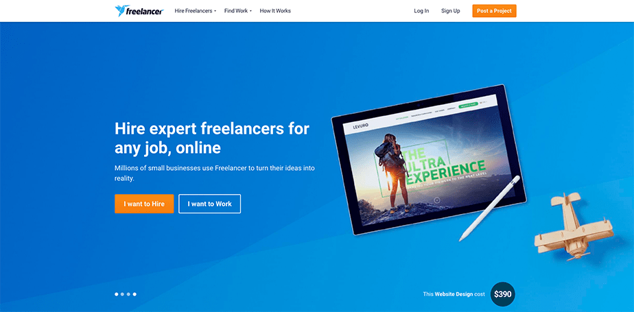 a freelance marketplace landing page