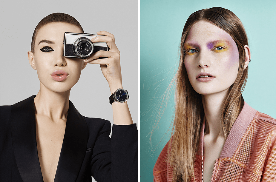 beauty and fashion portraits of a girl holding a camera on her face and a blond girl with bright makeup