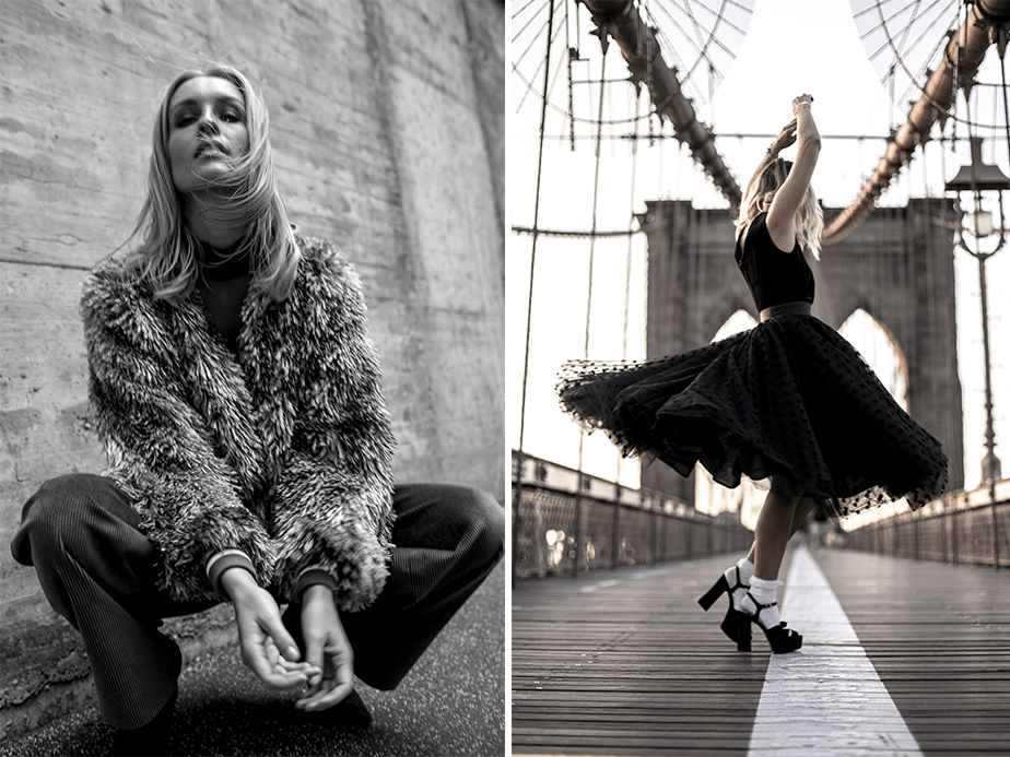 fashion portraits of a blonde model dancing on brooklyn bridge